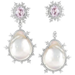 Nadine Aysoy 18 Karat Gold Morganite Baroque Pearl Detachable Diamond Earrings