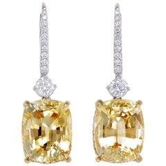 19.42 Carat Cushion Ceylon Yellow Sapphire Diamond 18 Karat Gold Drop Earrings