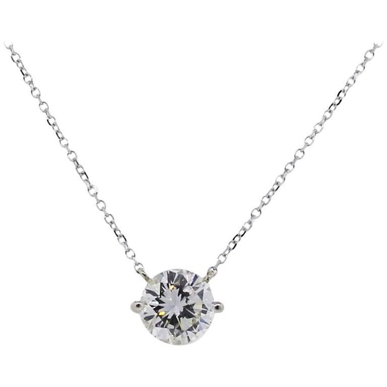 EGL Certified 1.38 Carat Round Diamond Solitaire Pendant Necklace