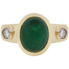 Oval Cabochon Emerald and Diamond Ring