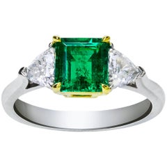 Green Emerald Diamond Three-Stone Ring