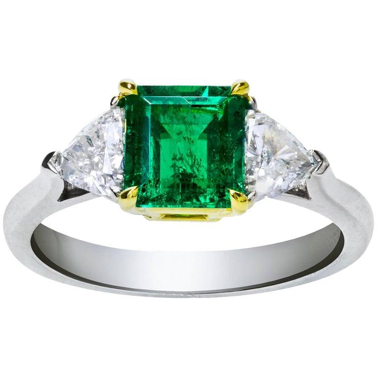 Green Emerald Diamond Three Stone Ring For