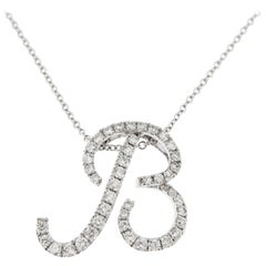 Jona White Diamond 18k White Gold B Letter Pendant Necklace