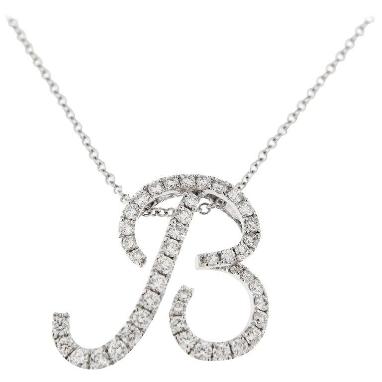 Jona White Diamond 18k White Gold B Letter Pendant Necklace