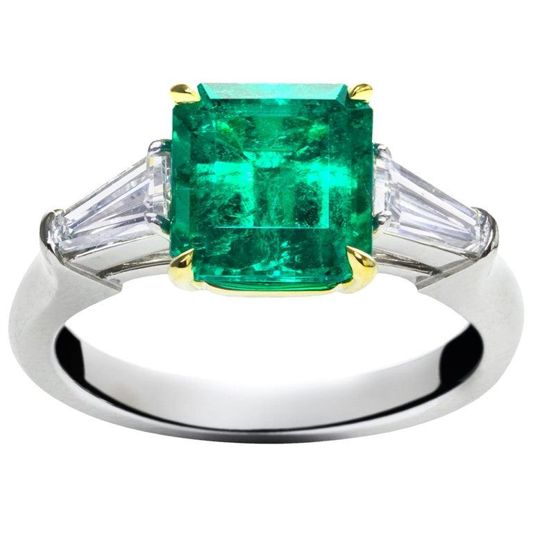 Green Emerald Diamond Platinum Three-Stone Ring