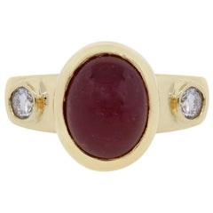 Oval Cabochon Ruby and Diamond Ring