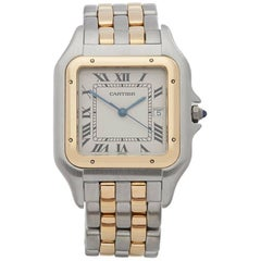 Cartier Yellow Gold Stainless Steel Panthere Jumbo Quartz Wristwatch, 1990s
