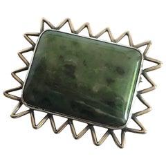 Hans Hansen Sterling Silver Green Toned Stone Brooch