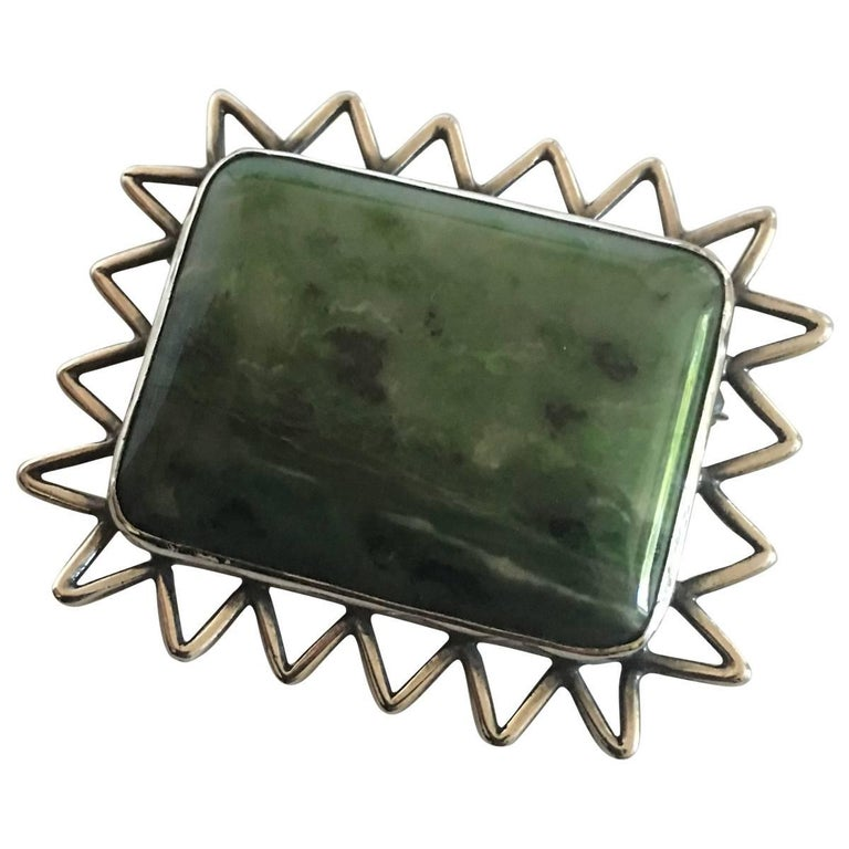 Hans Hansen Sterling Silver Green Toned Stone Brooch For Sale