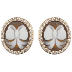 Italian Rose Vermeil Cameo Crystals Stud Earrings