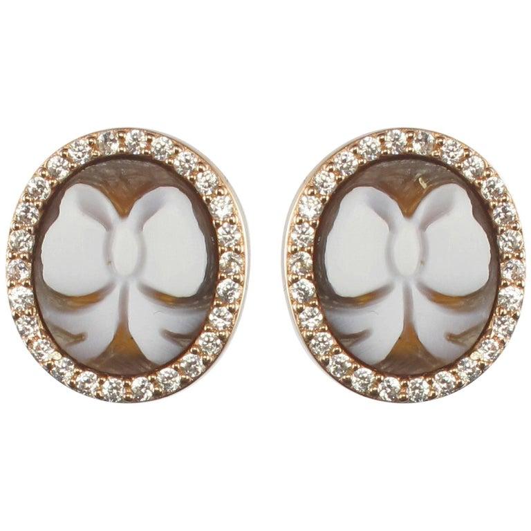Italian Rose Vermeil Cameo Crystals Stud Earrings