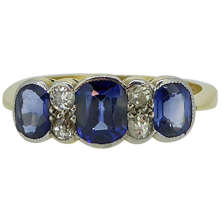 1920s Engagement Ring with Diamonds and Synthetic Sapphires