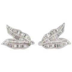Diamond Baguette Cut Clip on Earrings