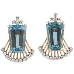Aquamarine and Diamond Clip on Earrings