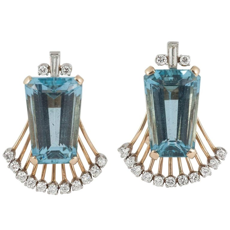 Aquamarine and Diamond Clip on Earrings
