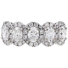 Oval and Round Diamond Halo Ring