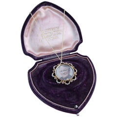 Antique Gold Picture Locket, Rubies and Pearls, Stamped 15 Carat