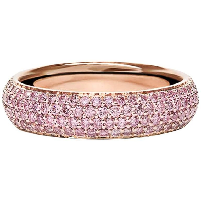Micro Pave Pink Diamond Gold Eternity Wedding Band For