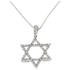 Jona Magen David White Diamond 18 Karat White Gold Pendant Necklace