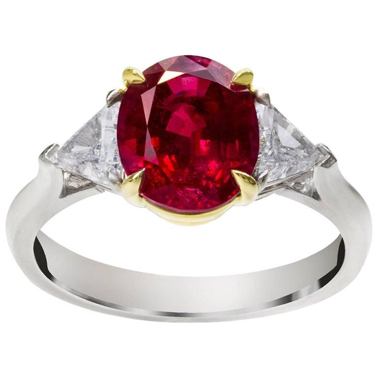 GIA Certified 2.85 Carat Ruby Diamond Three-Stone Ring