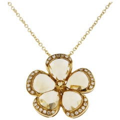 Jona Citrine Diamond Gold Flower Pendant Necklace