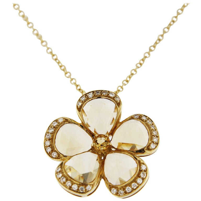 Jona Citrine White Diamond 18k yellow Gold Flower Pendant Necklace For Sale