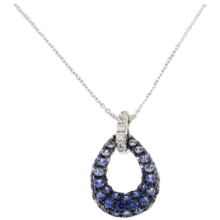 Jona White Diamond Blue Sapphire 18 Karat White Gold Drop Pendant Necklace For Sale