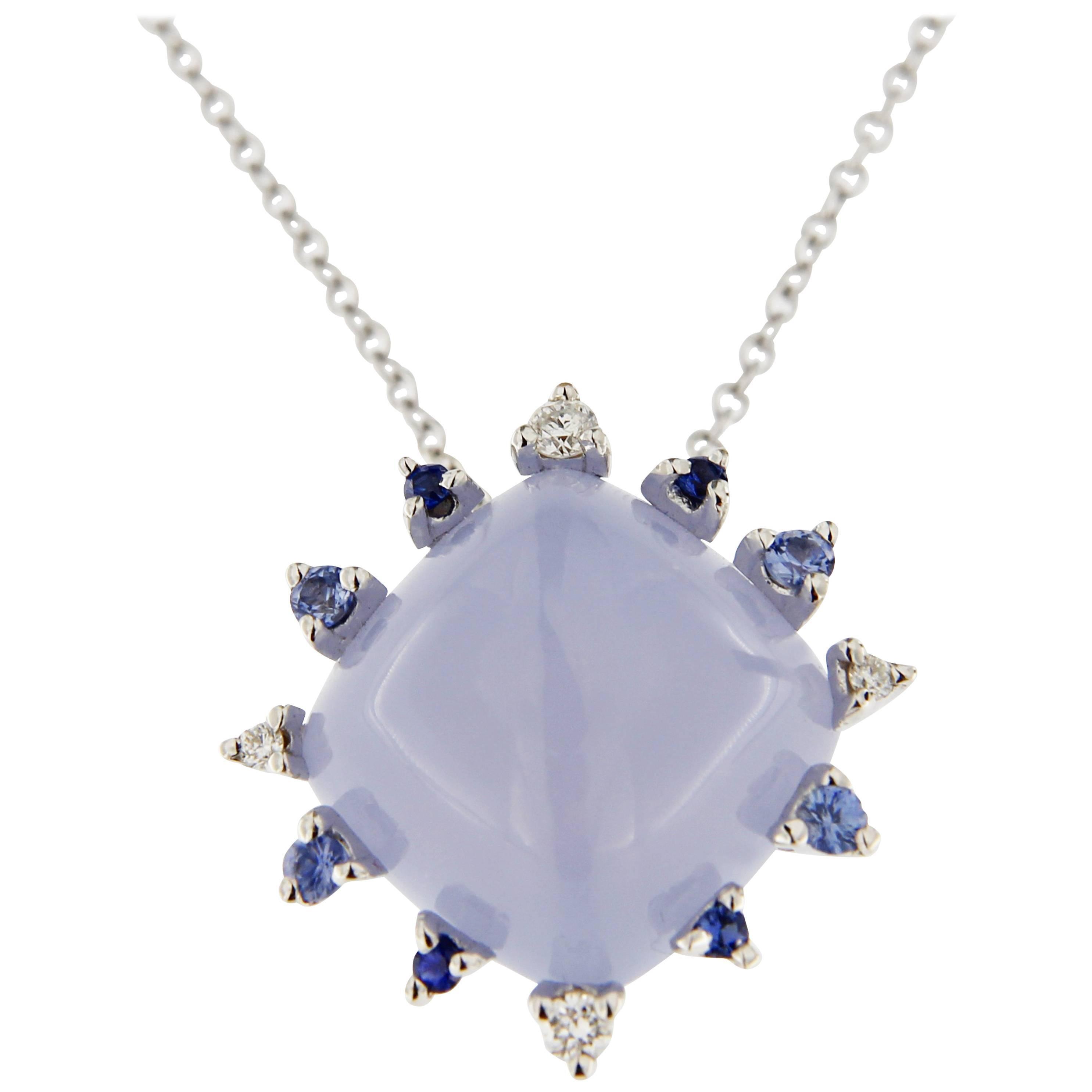 Jona Chalcedony White Diamond Blue Sapphire 18 Karat White Gold Pendant Necklace