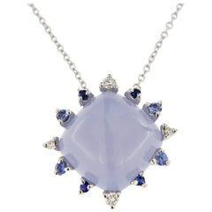 Jona Chalcedony White Diamond Blue Sapphire 18 Karat White Gold Pendant Necklace