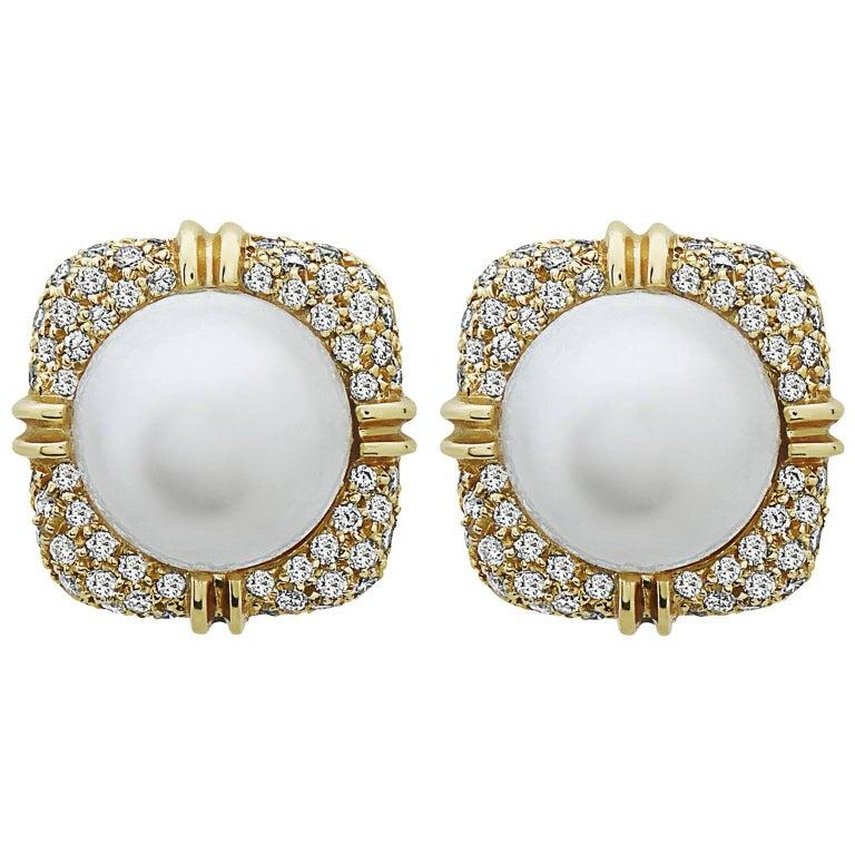Emilio Jewelry Handmade Pearl Diamond Earrings