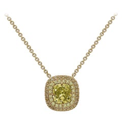 Emilio Jewelry GIA Certified Fancy Greenish Yellow Diamond Necklace