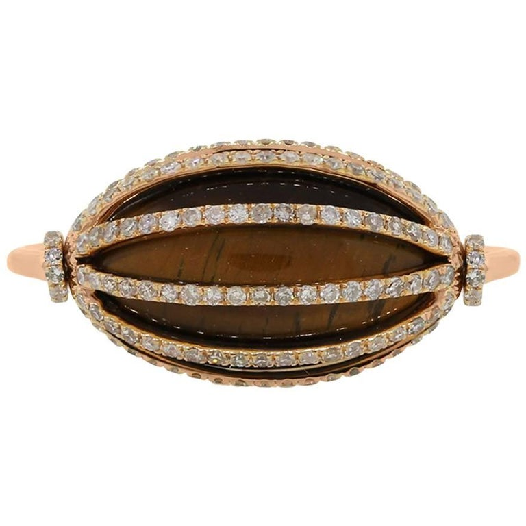 Tigers Eye and Diamond Spinning Cocktail Ring
