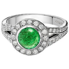 Cassandra Goad Mia Cabochon Emerald Diamond Ring