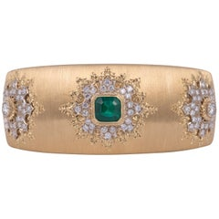 Magnificent Buccellati Emerald and Diamond Cuff