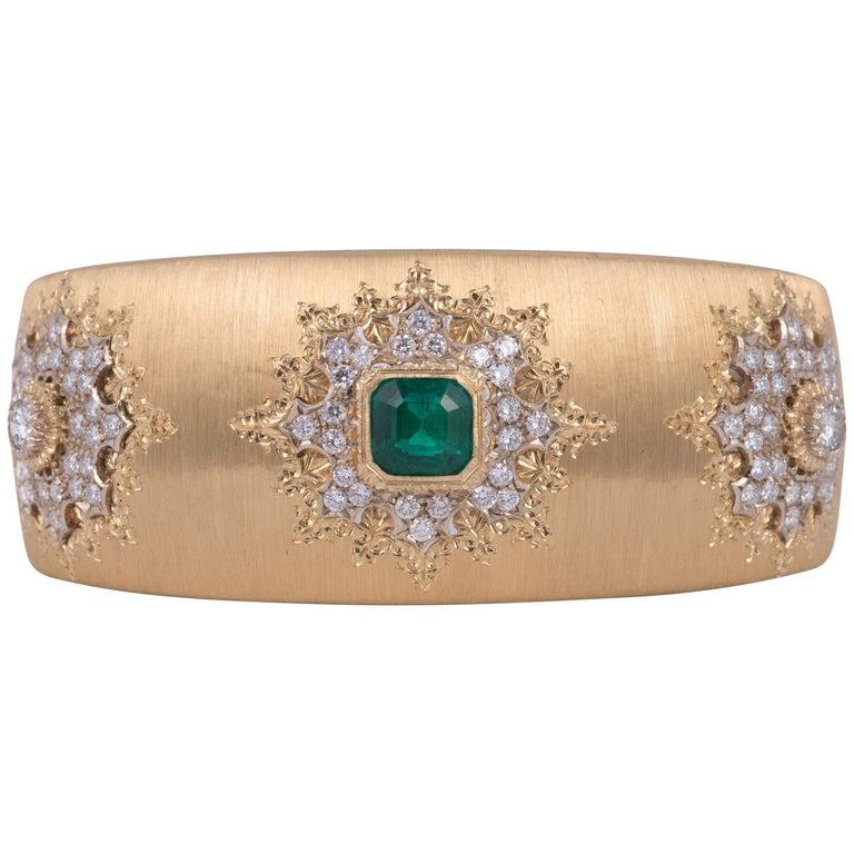 Magnificent Buccellati Emerald and Diamond Bracelet