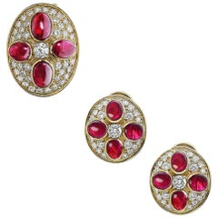 Emilio Jewelry Ruby Diamond Earring Pin Set