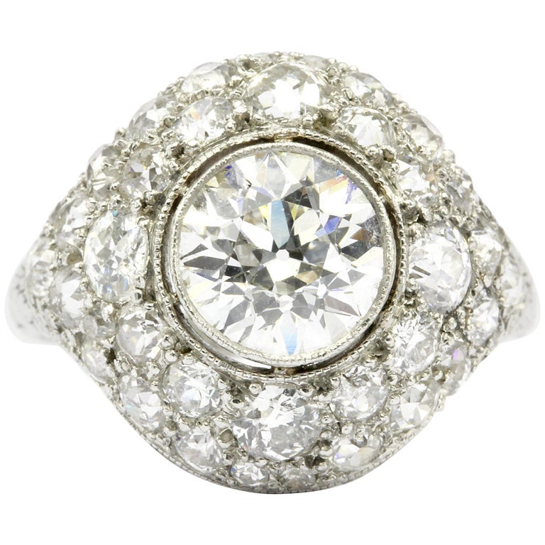 Art Deco Platinum 1.71 Old European Cut Diamond Halo Ring, circa 1920
