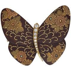 Van Cleef & Arpels/Junichi Hakos Estate Diamond Enamel and Gold Butterfly Brooch