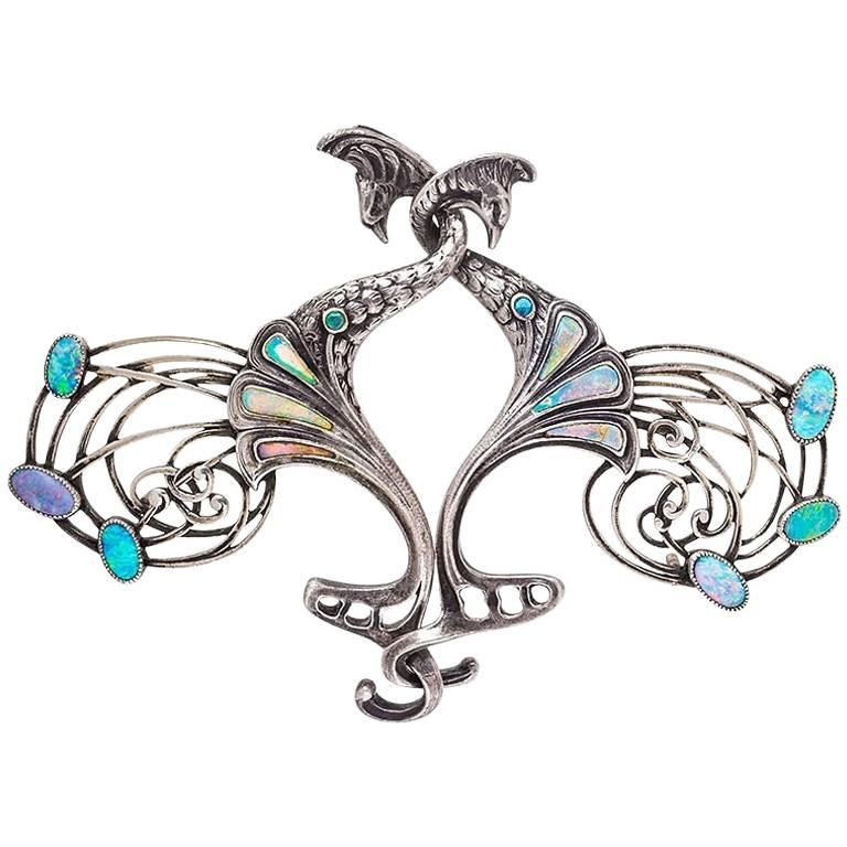Georges Fouquet Art Nouveau Opal and Silver Peacock Cloak Clasp For Sale