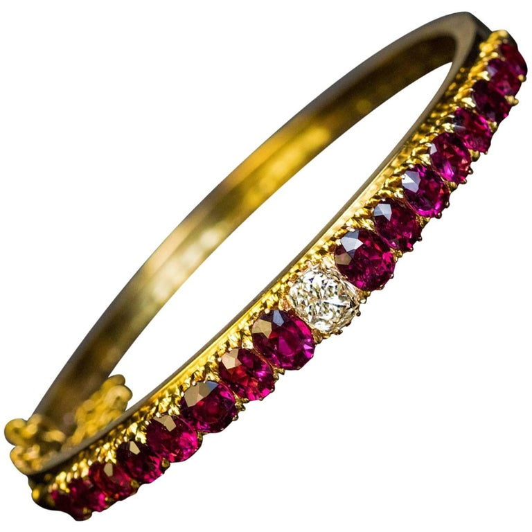 Antique Victorian Era Ruby Diamond Gold Bangle Bracelet For
