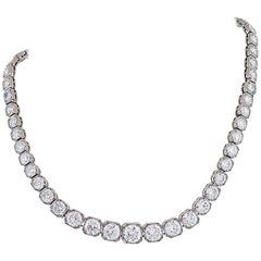 French Art Deco Diamond and Platinum Line Necklace/Bracelets