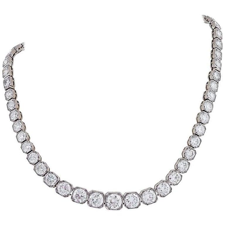 French Art Deco Diamond and Platinum Line Necklace/Bracelets