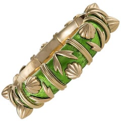 Schlumberger Gold and Paillone Enamel Bangle Bracelet