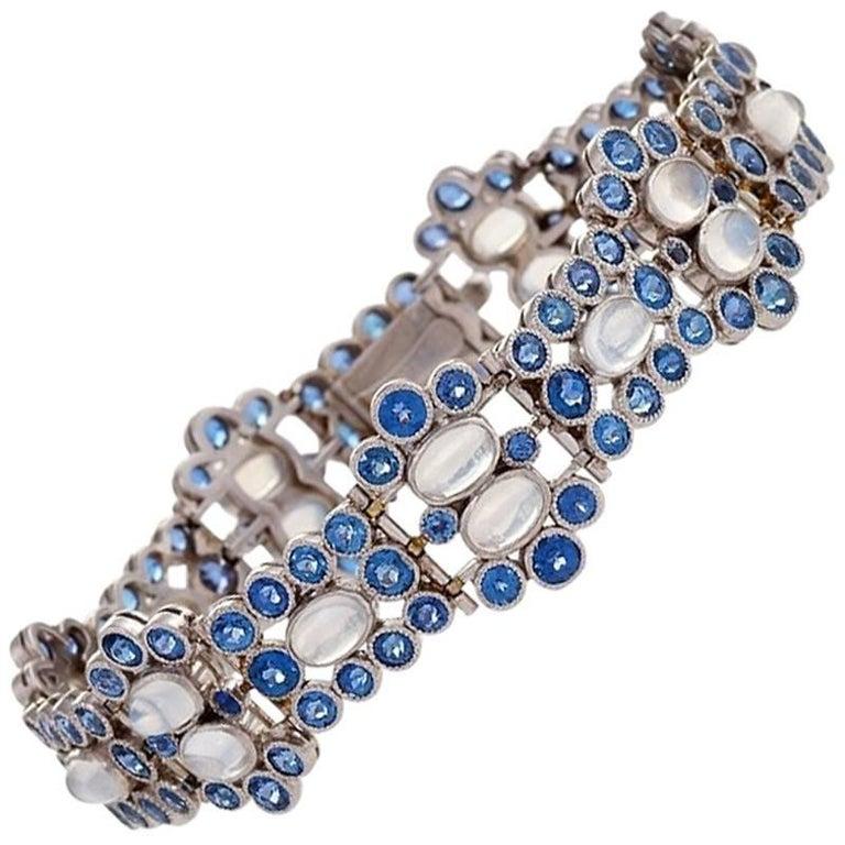 Tiffany & Co. Art Deco Moonstone, Montana Sapphire and Platinum Bracelet