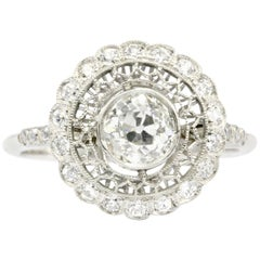 Handmade Platinum Old European Cut Diamond Halo Ring