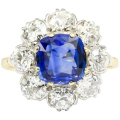 3 Carat Natural Sapphire 3.2 Carat Old Euro Diamond Flower Ring