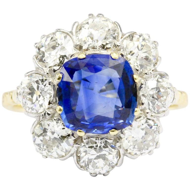 3 Carat Natural Sapphire 3.2 Carat Old Euro Diamond Flower Ring