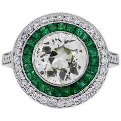 2.08 Carat Old European Cut Diamond and Emerald Halo Ring