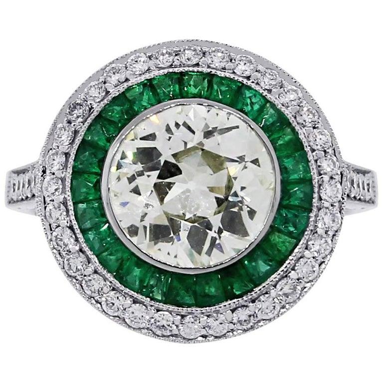 2.08 Carat Old European Cut Diamond and Emerald Halo Ring