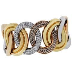 Large Link Diamond Bangle Bracelet